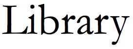 The word Library in Garamond regular font