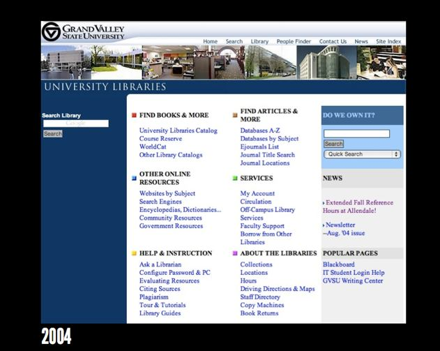 GVSU Library homepage in 2004