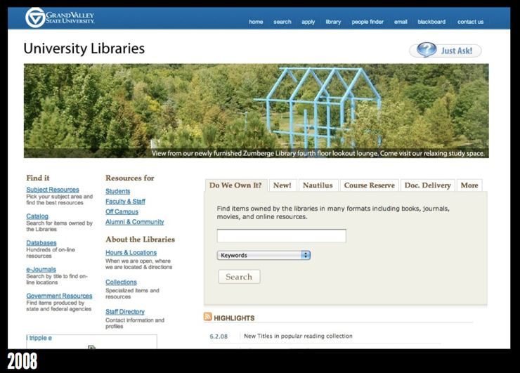 GVSU Library homepage in 2008