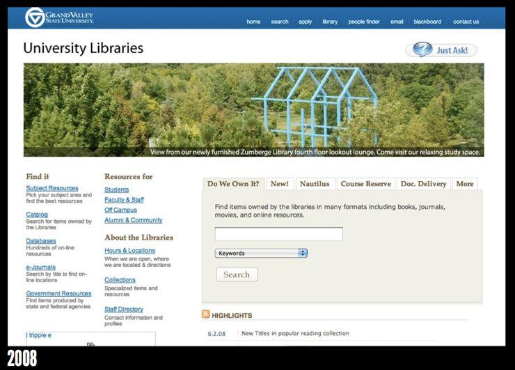GVSU Library homepage in 2008