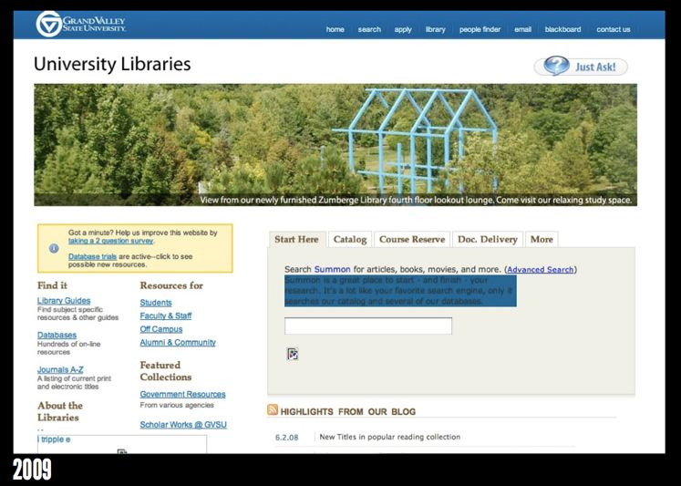 GVSU Library homepage in 2009