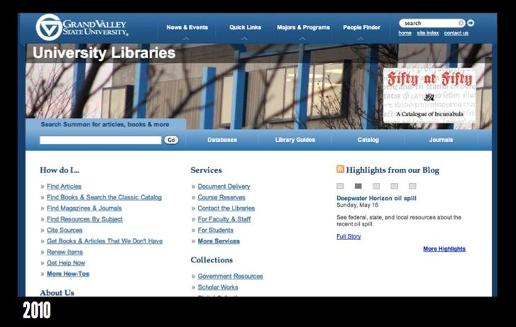 GVSU Library homepage 2010