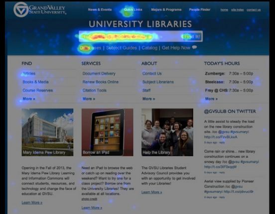 GVSU Library homepage 2011