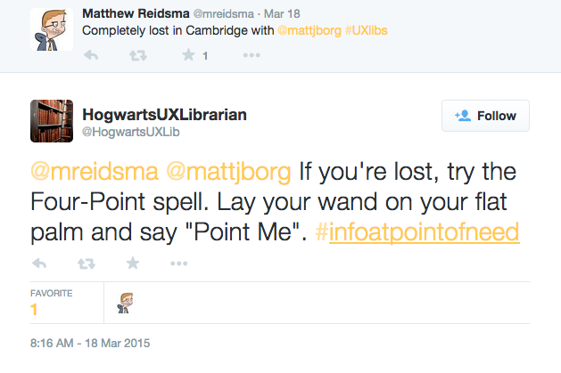 HogwartsUXLibs suggests Matt Borg and I use a spell to find our way when lost
