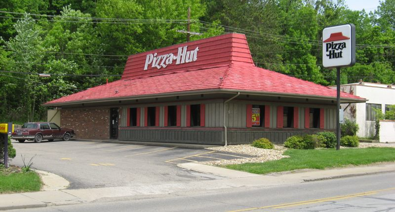 The Pizza Hut's unique architecture. Even with a windmill nearby, still the most distinctive building we had.