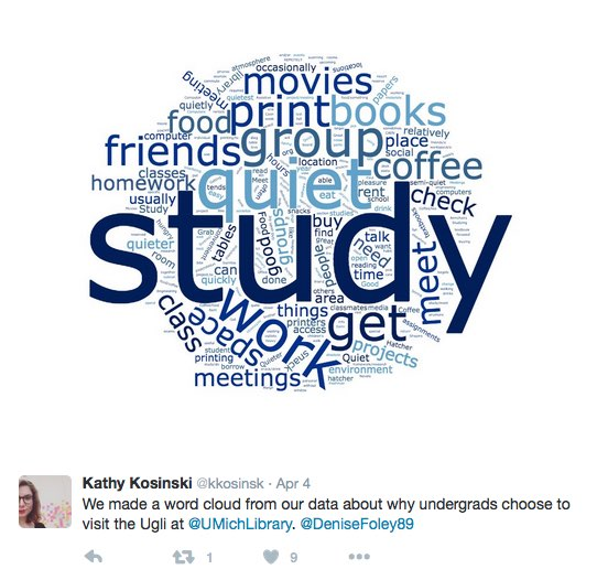 Word cloud of reasons undergrads use the University of Michigan libraries, emphasizing studying