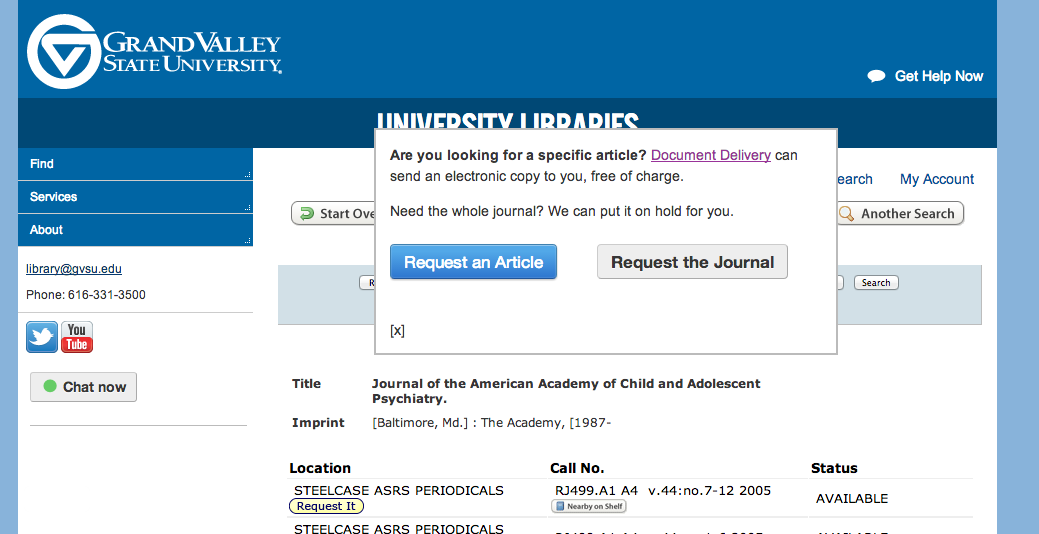 Modal dialog for requesting journals is now live in the catalog