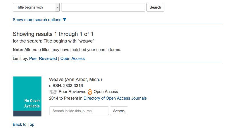Search results now show whether a journal is Open Access or Peer Reviewed