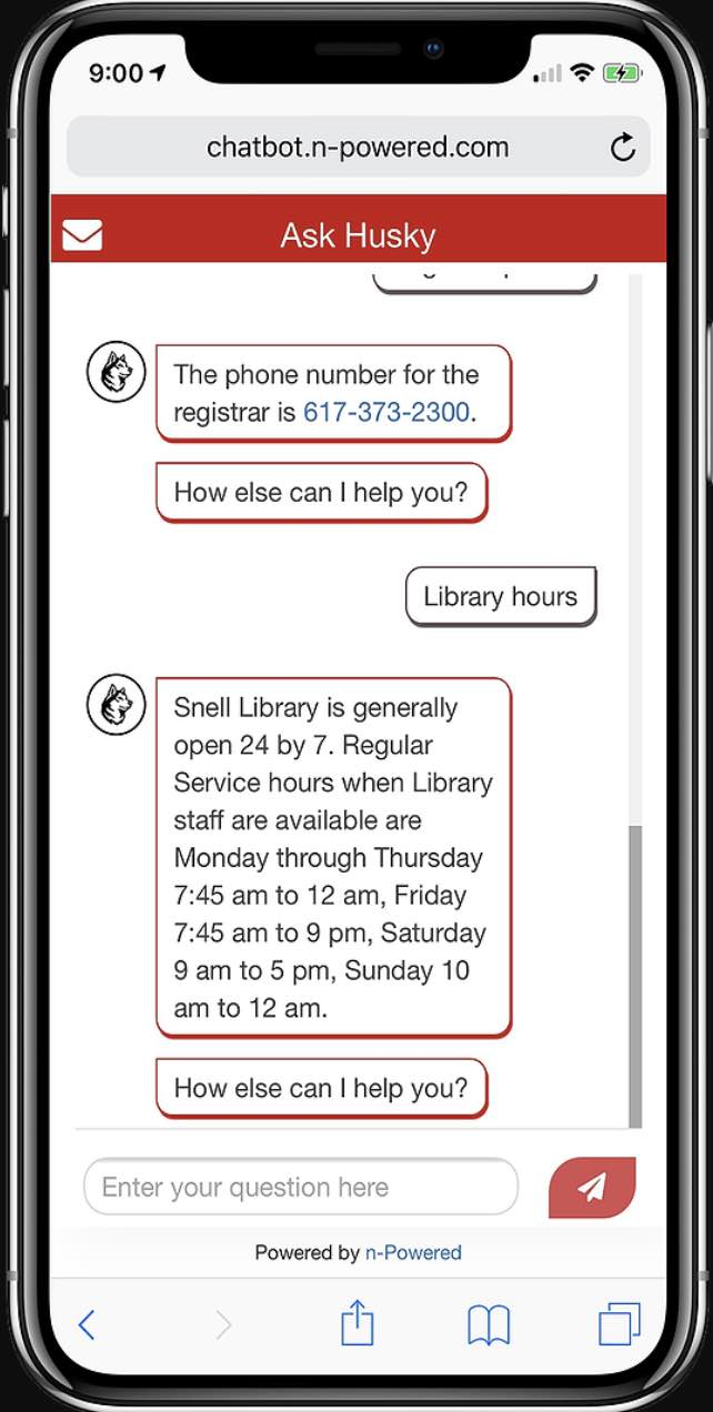Screenshot of n-powered app for Northeastern