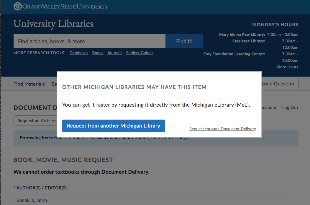 Screenshot of new modal window dialog