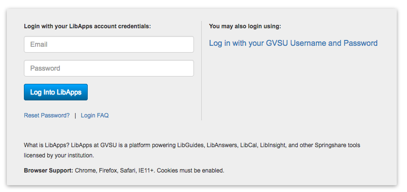 The link to log in with your GVSU ID is after the search form
