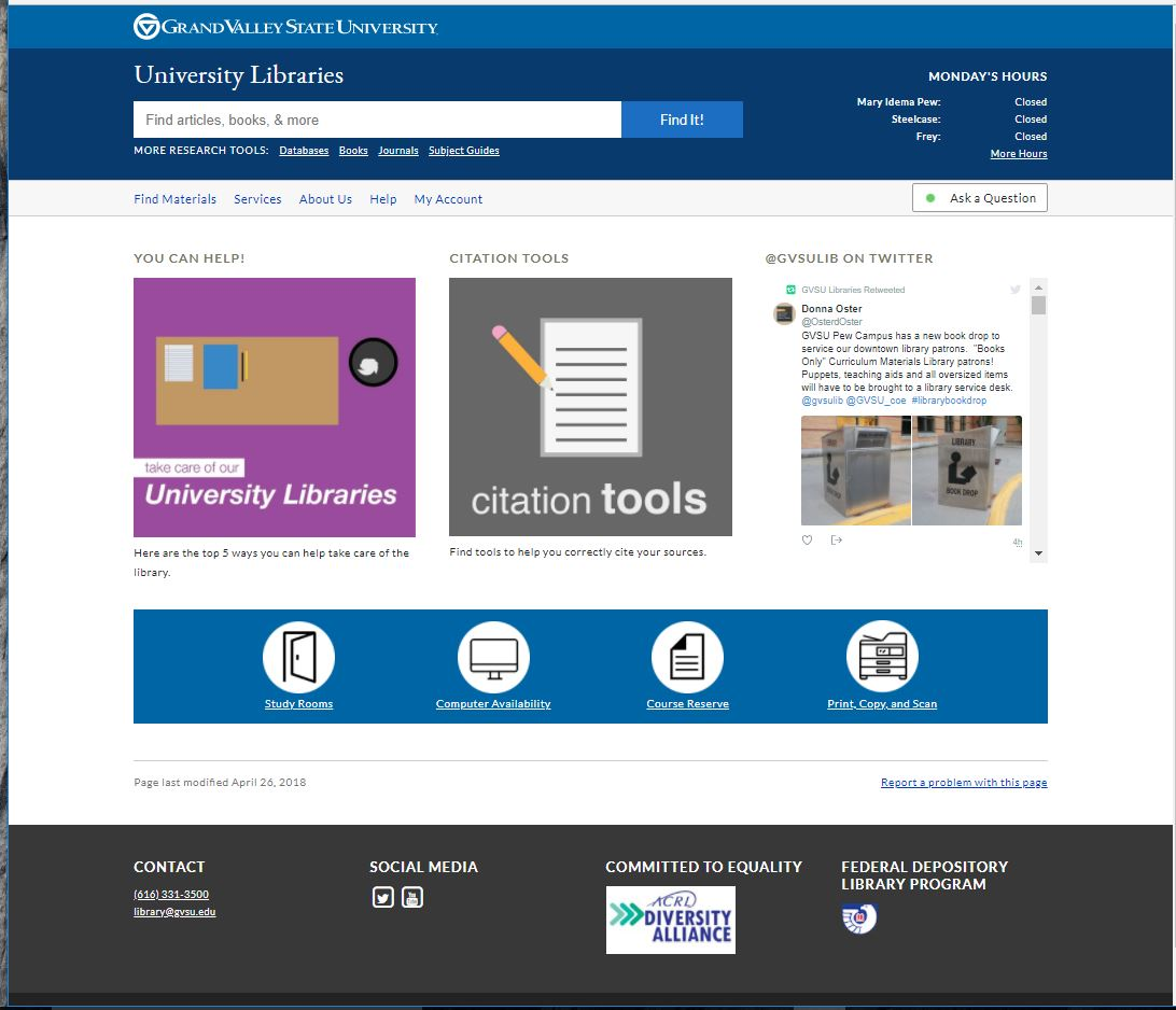 New Library homepage
