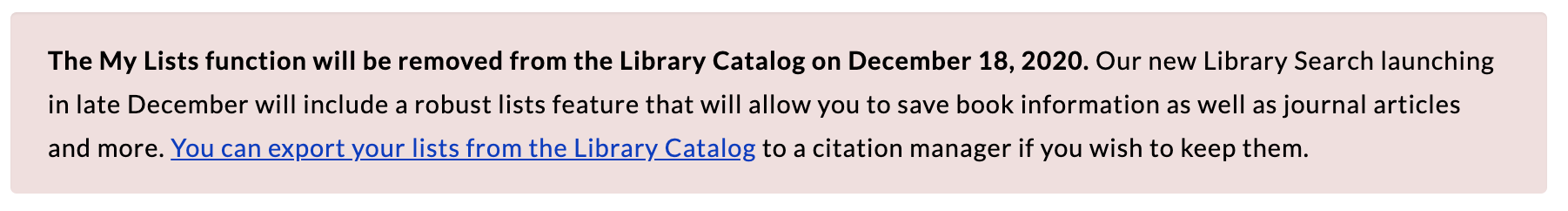 Banner alerting users that the My Lists feature will be disabled on December 18th