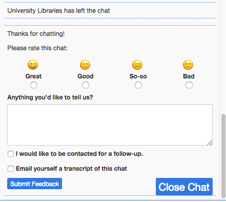LibChat now asks for feedback at the end of each chat
