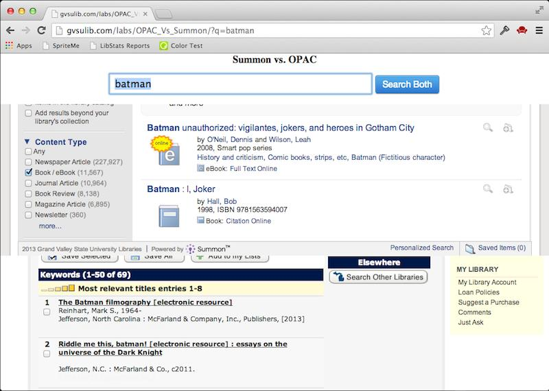 Screenshot of OPAC vs Summon tool showing the results of the search for batman