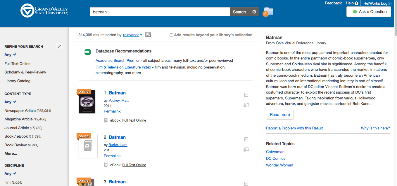 Summon search results page with Topic Explorer on the right